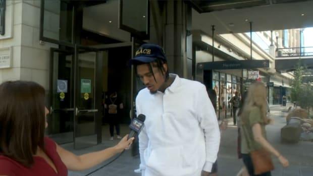 Jordan Clarkson getting interviewed
