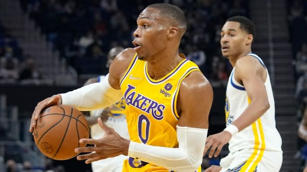 Russell Westbrook Tells An Older Fan 'Not For You' Before Giving His Shoes To A Young Lakers Fan
