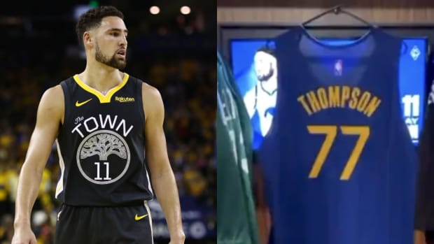Golden State Warriors Troll Klay Thompson With A #77 Jersey After NBA 75 List Snub