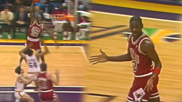 """After Dunking On John Stockton, Utah Jazz Owner Larry H. Miller Told Michael Jordan To Pick On Someone His Own Size, So Then Jordan Dunked On The Jazz's Center: """"Is He Big Enough?"""""""