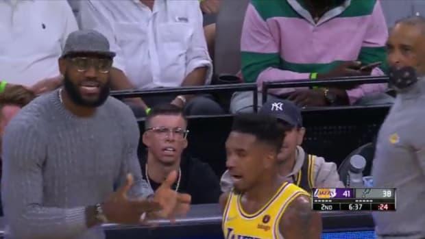 LeBron James Coaching Malik Monk On The Sideline During Lakers vs. Spurs