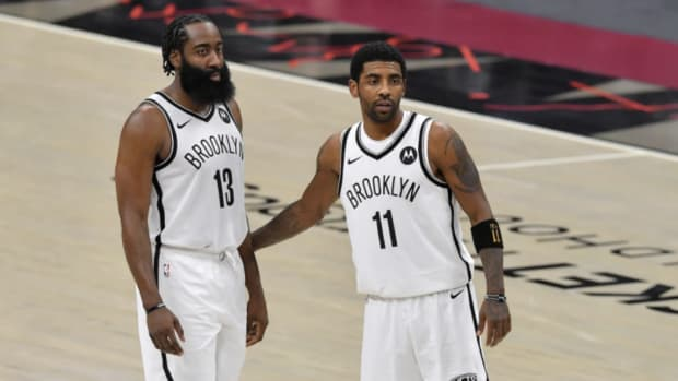James Harden Wants Kyrie Irving To Return, Says He Is A Big Part Of What Makes The Nets Scary