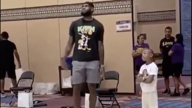 """LeBron James Funny Exchange With Dion Waiters' Kid: """"'I'll Make 100 Straight' He Responds, 'Yeah Right!' LeBron Misses And Says, 'I Missed That On Purpose So You'd Think I'm Human'"""""""