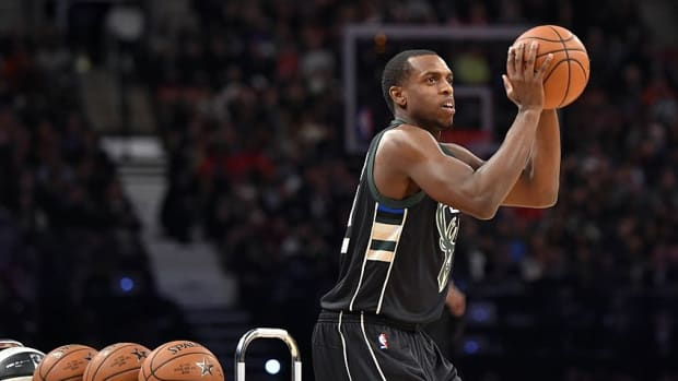 Feb 13, 2016; Toronto, Ontario, Canada; Milwaukee Bucks forward Khris Middleton competes in the three-point contest during the NBA All Star Saturday Night at Air Canada Centre. Mandatory Credit: Bob Donnan-USA TODAY Sports