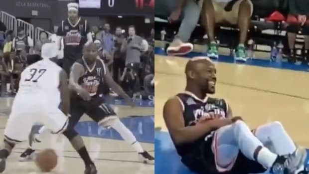 Bone Collector Brokes Floyd Mayweather's Ankles During Charity Basketball Game