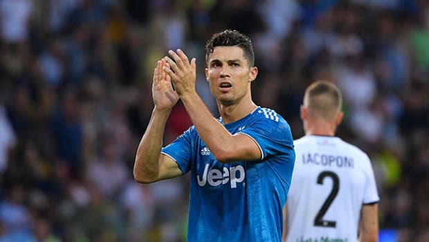 PARMA, ITALY - AUGUST 24: Cristiano Ronaldo of Juventus  during the Italian Serie A   match between Parma v Juventus at the Stadio Ennio Tardini on August 24, 2019 in Parma Italy (Photo by Mattia Ozbot/Soccrates/Getty Images)