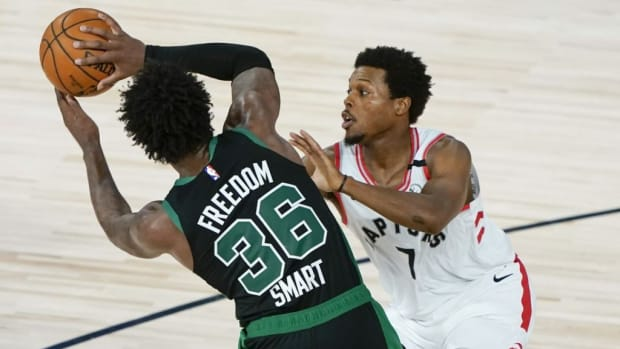 """Kyle Lowry Lauds Marcus Smart's Game: """"That Man Plays Extremely Hard. You Have To Tip Your Hat To Somebody Like him. You Know What He's Going To Do Every Single Night. You Know He's Going To Bring It."""""""