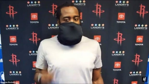James Harden Tries Covering His Beard While Wearing A Face Mask