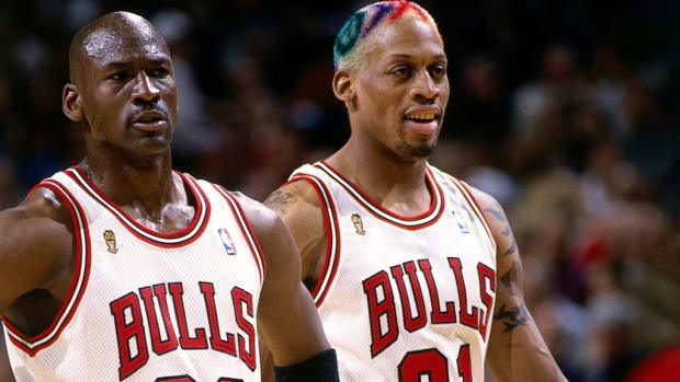 "Michael Jordan On People Saying Dennis Rodman Is 6'9"": 'That's When He's Wearing Heels.'"