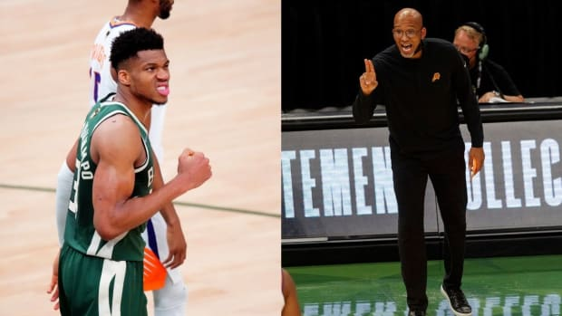 """Giannis Antetokounmpo On Monty Williams Complaining About The Officiating In Game 3- """"I Think I Take A Pretty Good Beating Out There."""""""