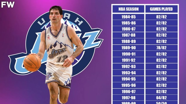 John Stockton Played 82 Games 16 Times In His Career: He Missed 22 Total Games Over 2 Seasons