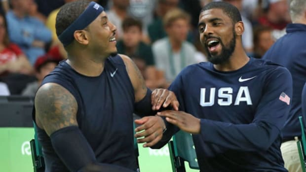 Carmelo Anthony And Kyrie Irving Trade Buckets At Pick Up Game