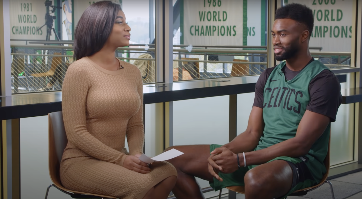 """Jaylen Brown Tried To Impress Taylor Rooks, Saying He Would Win 6 Championship By The Time He Turned 28: """"Dude also fighting to keep his eyes up"""""""