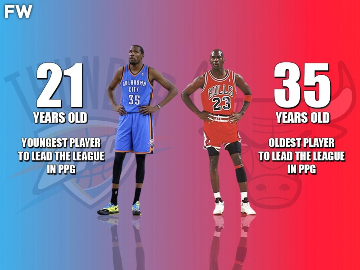 The Youngest And Oldest Players To Lead The League In PPG: 21-Year Old Kevin Durant And 35-Year Old Michael Jordan