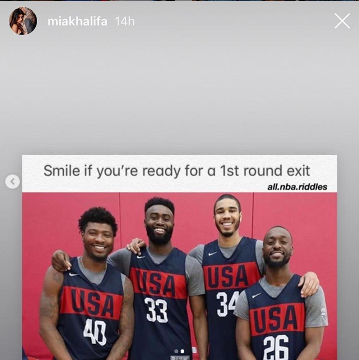 Mia Khalifa takes a shot at the Celtics