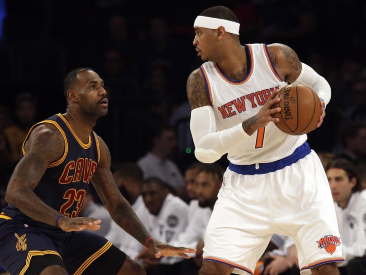 Nov 13, 2015; New York, NY, USA; Cleveland Cavaliers forward LeBron James (23) defends New York Knicks forward Carmelo Anthony (7) during the first half on an NBA basketball game at Madison Square Garden. Mandatory Credit: Adam Hunger-USA TODAY Sports