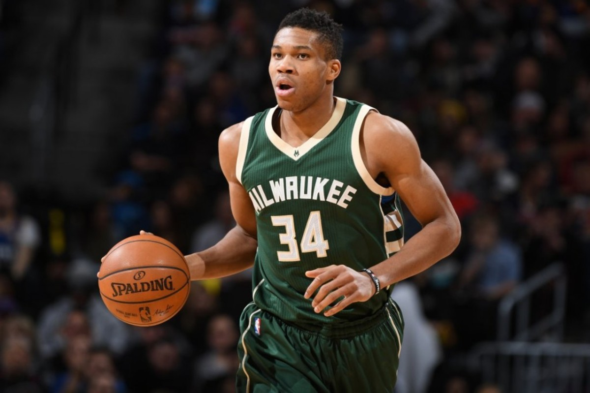 DENVER, CO - FEBRUARY 3: Giannis Antetokounmpo #34 of the Milwaukee Bucks handles the ball against the Denver Nuggets on February 3, 2017 at the Pepsi Center in Denver, Colorado. NOTE TO USER: User expressly acknowledges and agrees that, by downloading and/or using this Photograph, user is consenting to the terms and conditions of the Getty Images License Agreement. Mandatory Copyright Notice: Copyright 2017 NBAE  (Photo by Garrett Ellwood/NBAE via Getty Images)