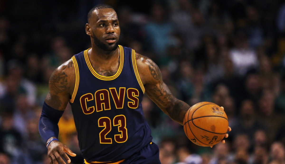 BOSTON, MA - MARCH 1: LeBron James #23 of the Cleveland Cavaliers dribbles against the Boston Celtics during the first quarter at TD Garden on March 1, 2017 in Boston, Massachusetts. NOTE TO USER: User expressly acknowledges and agrees that, by downloading and or using this Photograph, user is consenting to the terms and conditions of the Getty Images License Agreement. (Photo by Maddie Meyer/Getty Images)