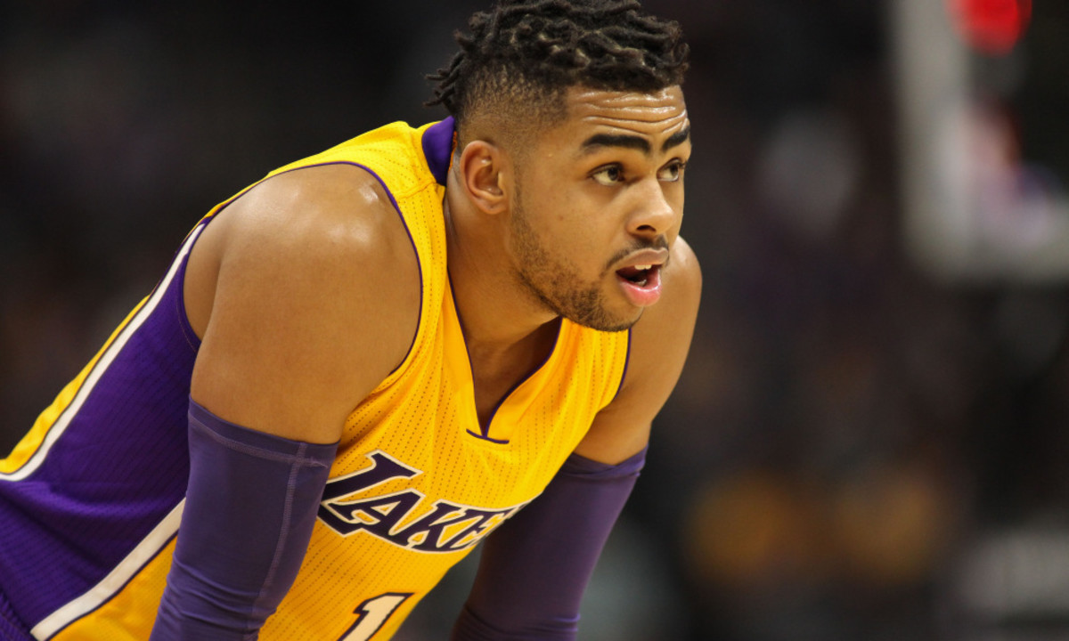Nov 10, 2016; Sacramento, CA, USA;  Los Angeles Lakers guard D'Angelo Russell (1) looks on against the Sacramento Kings during the second half at Golden 1 Center. The Lakers won the game 101-91. Mandatory Credit: Sergio Estrada-USA TODAY Sports