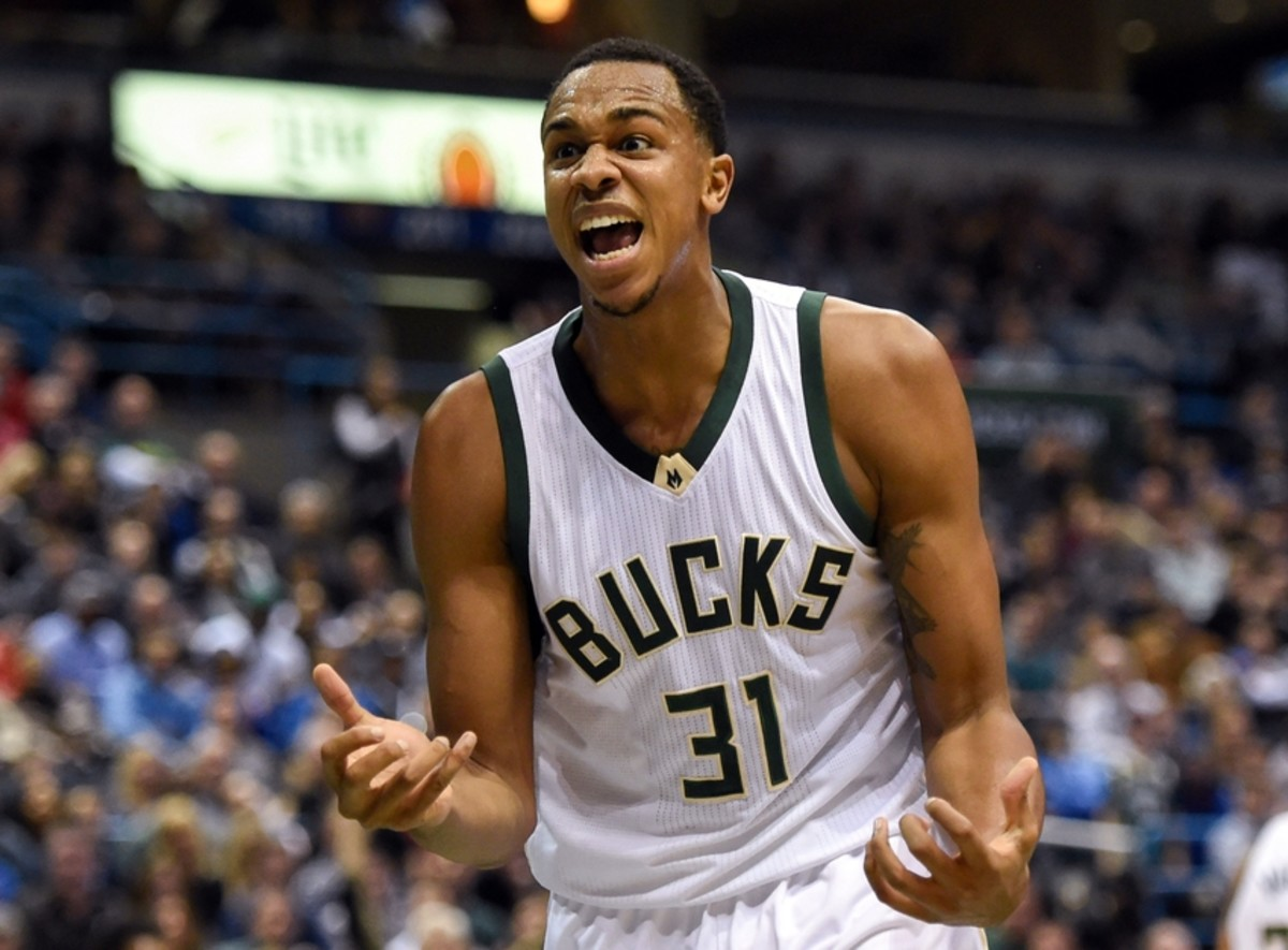 Dec 12, 2015; Milwaukee, WI, USA;  Milwaukee Bucks forward John Henson (31) reacts to a call in the second quarter during the game against the Golden State Warriors at BMO Harris Bradley Center. Mandatory Credit: Benny Sieu-USA TODAY Sports