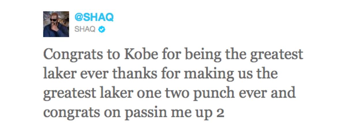 Shaq on Kobe Tweet