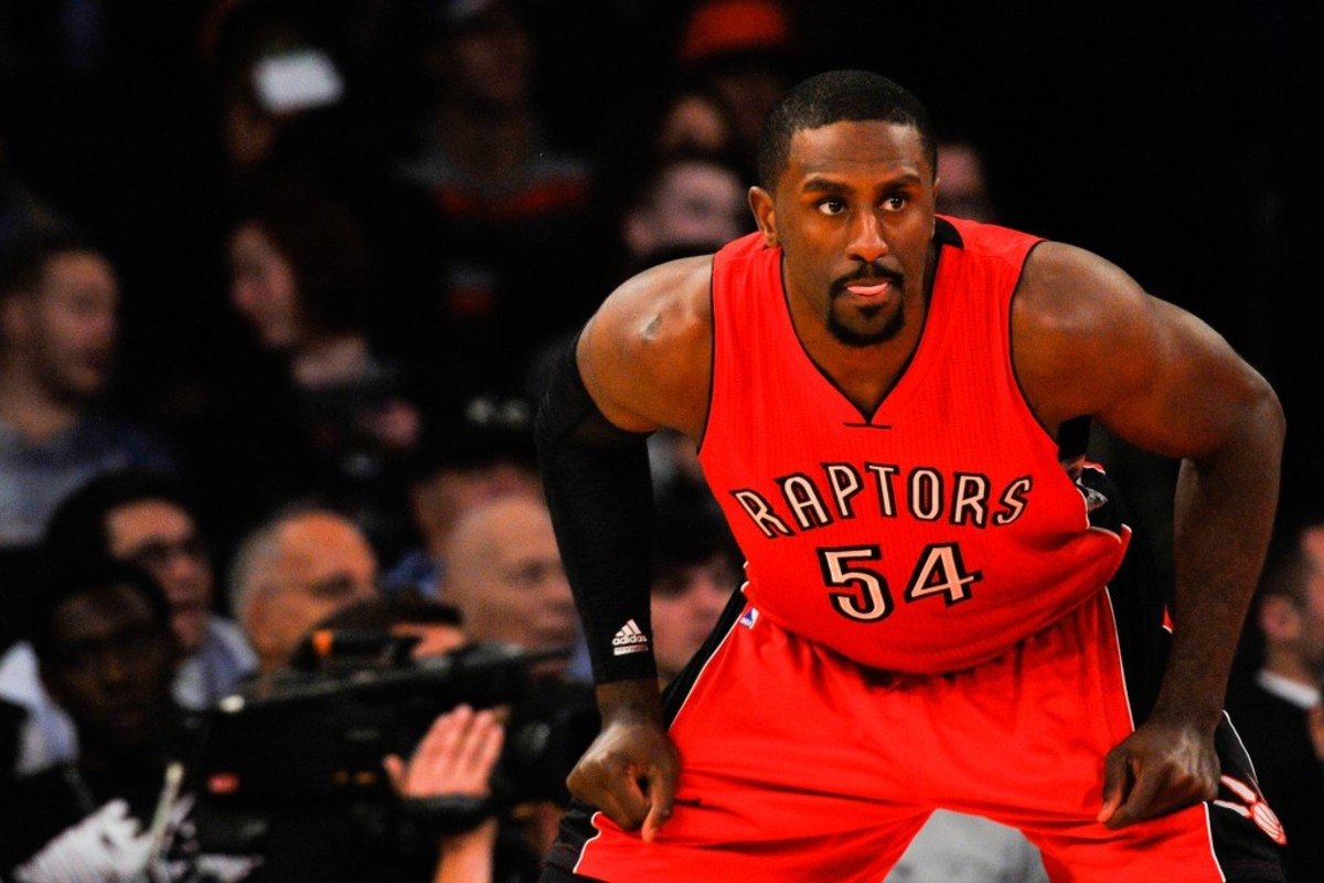 NEW YORK, NY - OCTOBER 13: Patrick Patterson #54 of the Toronto Raptors looks on during a game against the New York Knicks at Madison Square Garden on October 13, 2014 in New York City. NOTE TO USER: User expressly acknowledges and agrees that, by downloading and/or using this photograph, user is consenting to the terms and conditions of the Getty Images License Agreement. (Photo by Alex Goodlett/Getty Images)