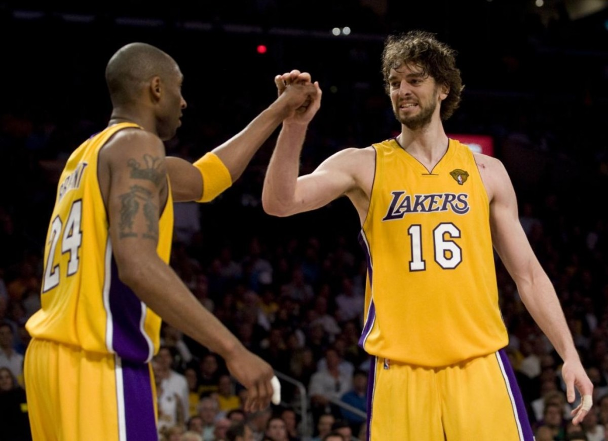 The Lakers' Kobe Bryant celebrates with Pau Gasol during the Lakers 89-67 victory over the Celtics in Game 6 of the NBA Finals on Tuesday in Los Angeles. ///ADDITIONAL INFO:  lakers.0616.kjs  ---  Photo by KEVIN SULLIVAN, THE ORANGE COUNTY REGISTER -- 6/15/10  -- The Los Angeles Lakers take on the Boston Celtics in Game 6 of the NBA Finals at Staples Center. 6/15/10
