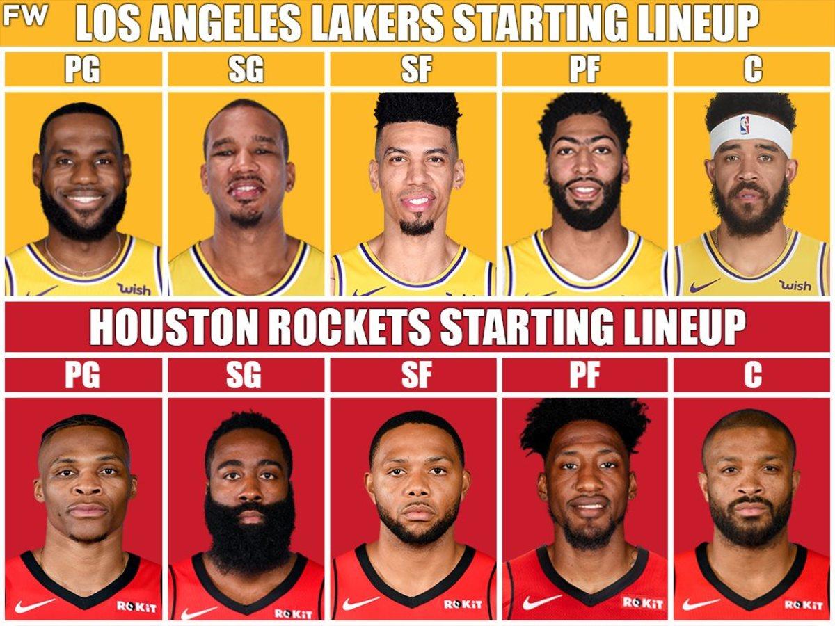 Lakers Starters vs. Rockets Starters