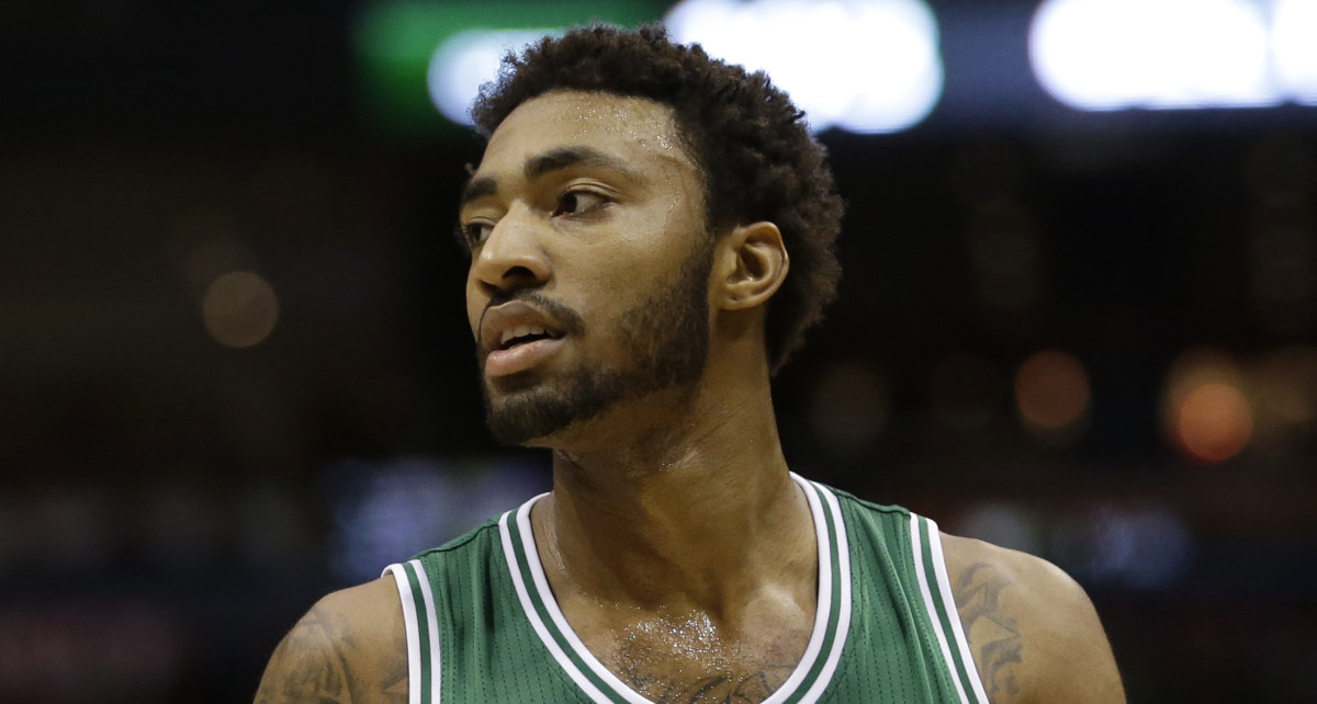 Boston Celtics' James Young looks away during an NBA basketball game against the Milwaukee Bucks Wednesday, April 15, 2015, in Milwaukee. (AP Photo/Aaron Gash)