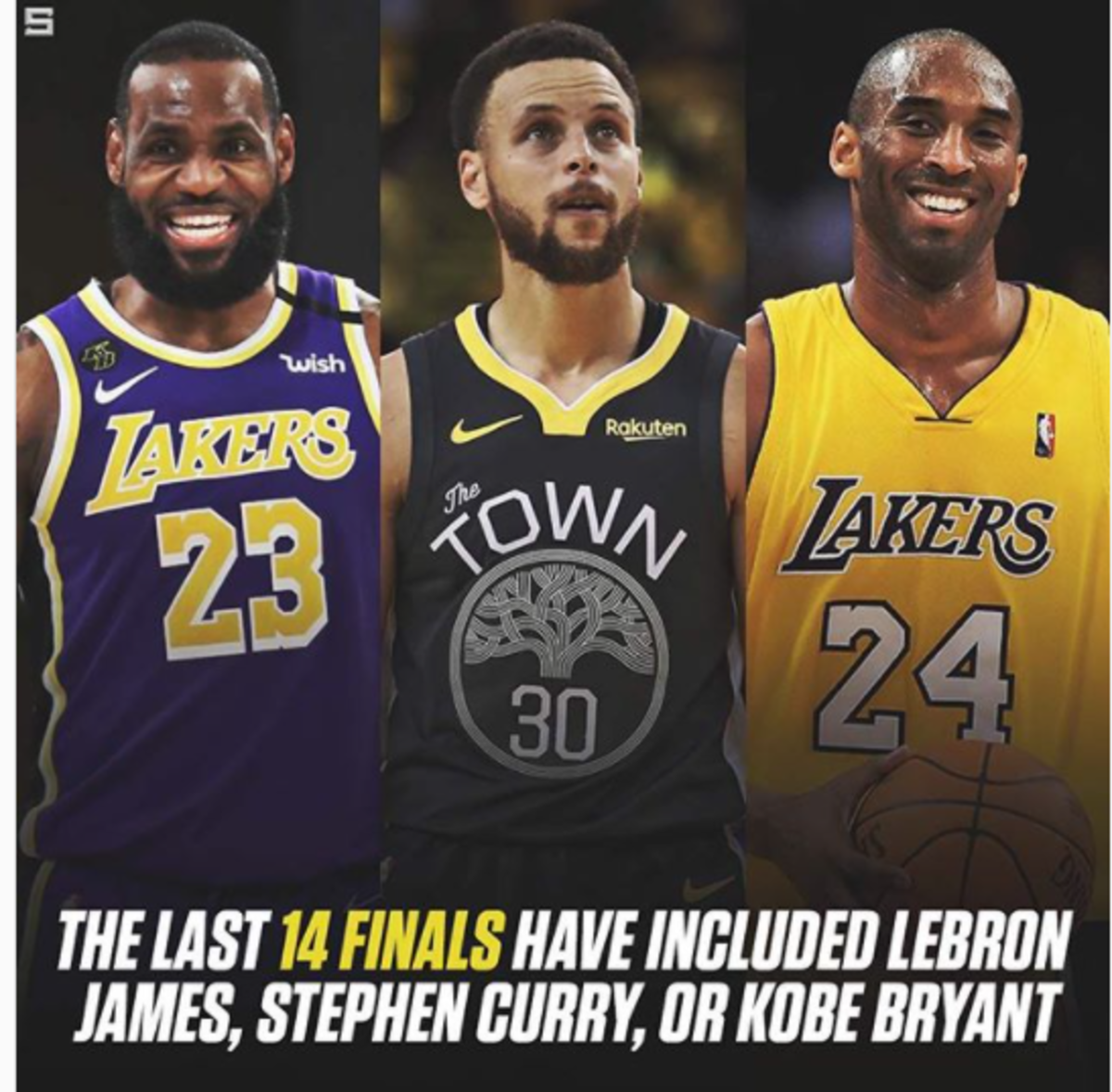 The Last 14 NBA Finals Have Included LeBron James, Stephen Curry, Or Kobe Bryant