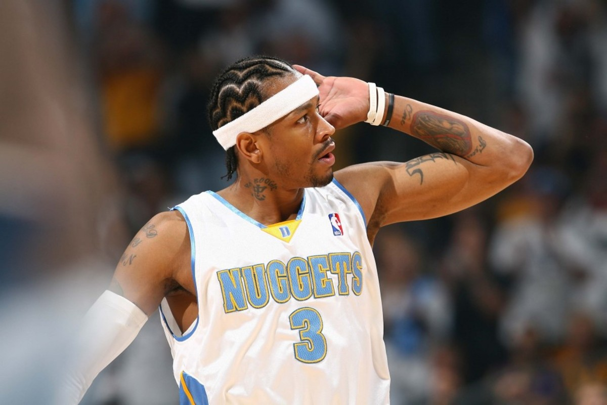 DENVER - APRIL 28: Allen Iverson #3 of the Denver Nuggets gets the crowd fired up against the Los Angeles Lakers in Game Four of the Western Conference Quarterfinals during the 2008 NBA Playoffs on April 28, 2008 at the Pepsi Center in Denver, Colorado. NOTE TO USER: User expressly acknowledges and agrees that, by downloading and/or using this Photograph, user is consenting to the terms and conditions of the Getty Images License Agreement. Mandatory Copyright Notice: Copyright 2008 NBAE  (Photo by Garrett W. Ellwood/NBAE via Getty Images) *** Local Caption *** Allen Iverson