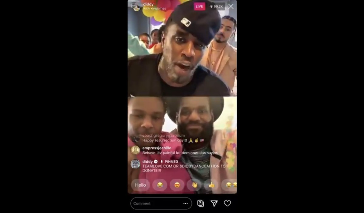 LeBron James Appears With Bronny On P. Diddy's IG Live To Raise Money For Healthcare Workers