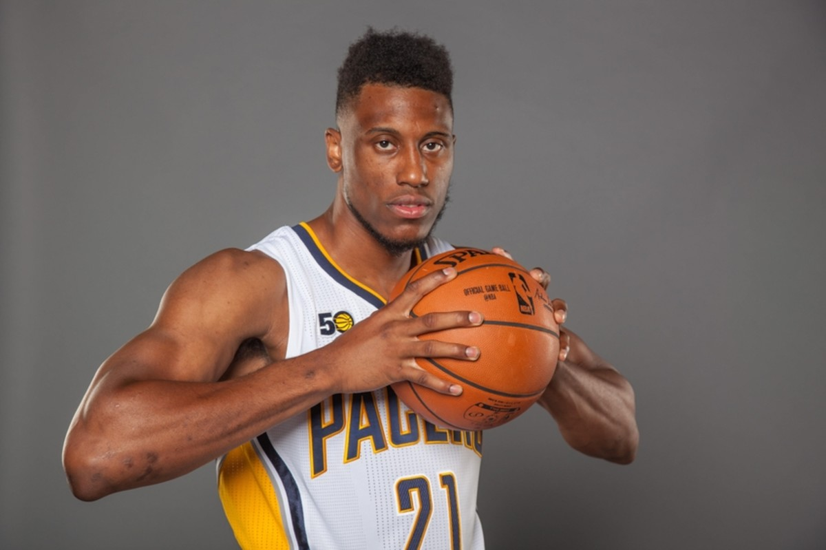 Sep 26, 2016; Indianapolis, IN, USA;  Indiana Pacers forward Thaddeus Young (21) poses for photos during media day at  Bankers Life Fieldhouse. Mandatory Credit: Trevor Ruszkowski-USA TODAY Sports