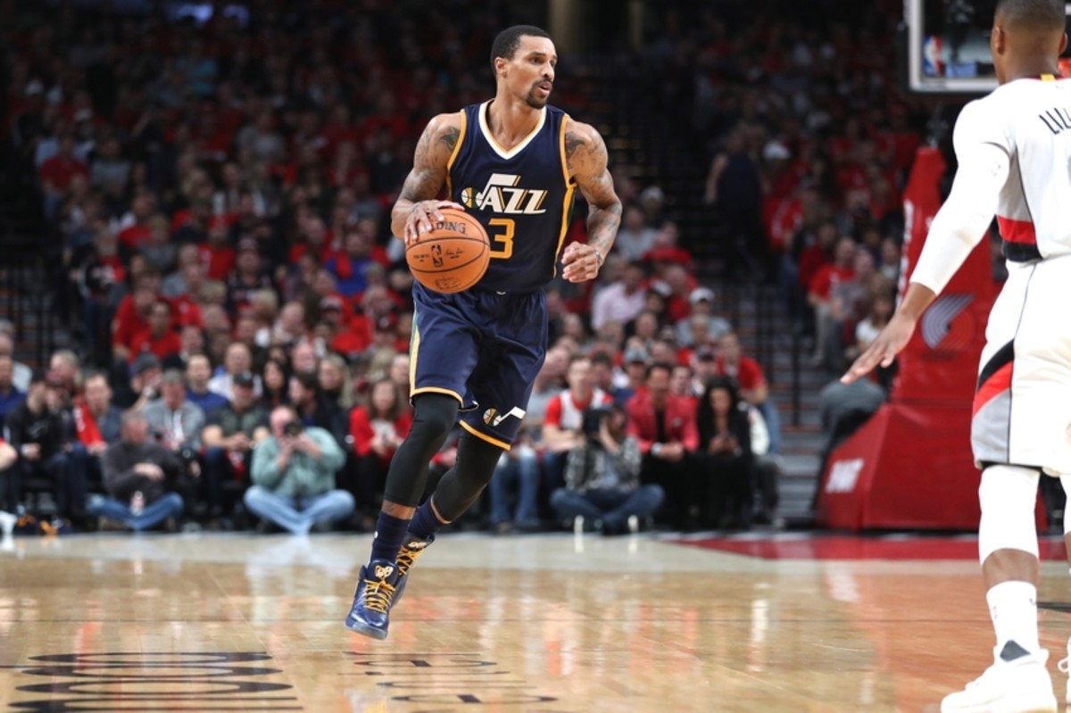 Oct 25, 2016; Portland, OR, USA; Utah Jazz guard George Hill (3) bring the ball up-court against the Portland Trail Blazers at Moda Center at the Rose Quarter. Mandatory Credit: Jaime Valdez-USA TODAY Sports