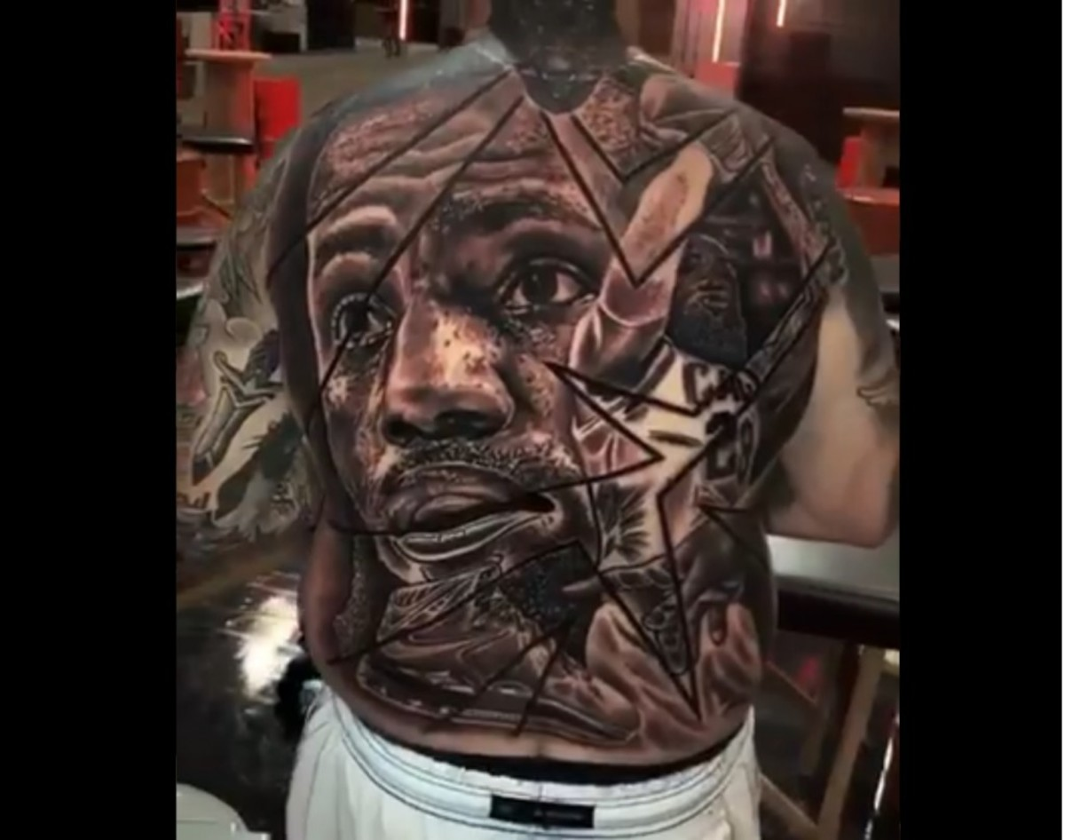 NBA Twitter Reacts To Fan Getting An Unbelievable Back Tattoo Of LeBron James' Face