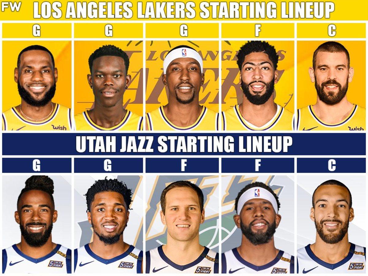 Lakers Starting Lineup vs. Jazz Starting Lineup