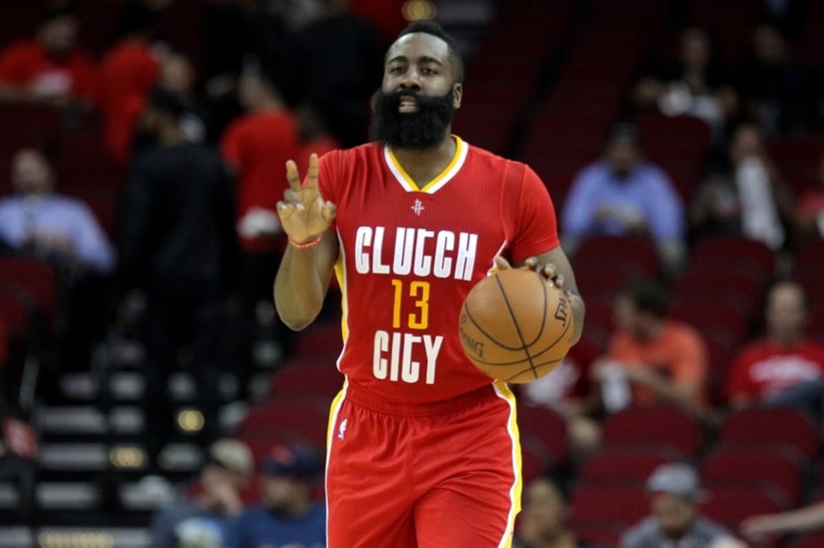 Nov 17, 2016; Houston, TX, USA; Houston Rockets guard James Harden (13) signals a play against the Portland Trail Blazers during the first quarter at Toyota Center. Mandatory Credit: Erik Williams-USA TODAY Sports