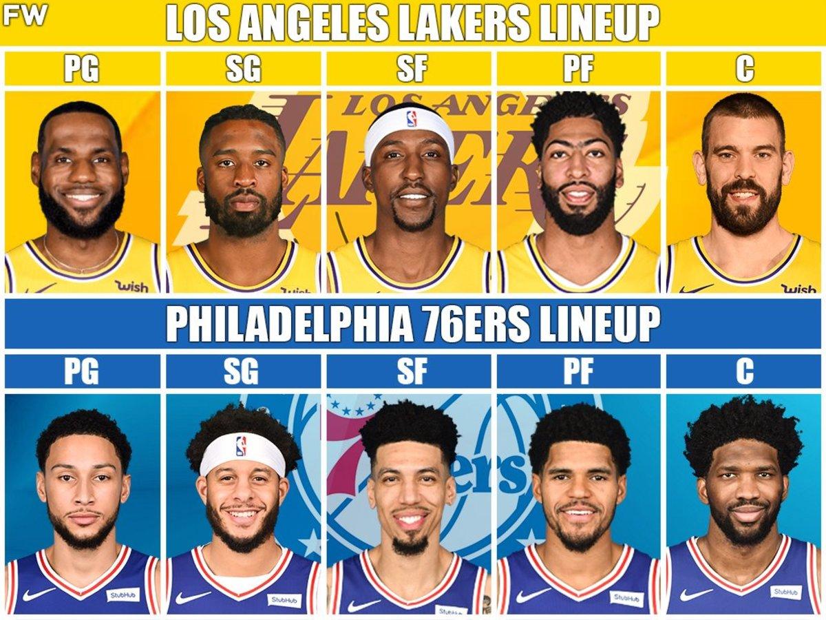 Lakers vs. 76ers starting lineups