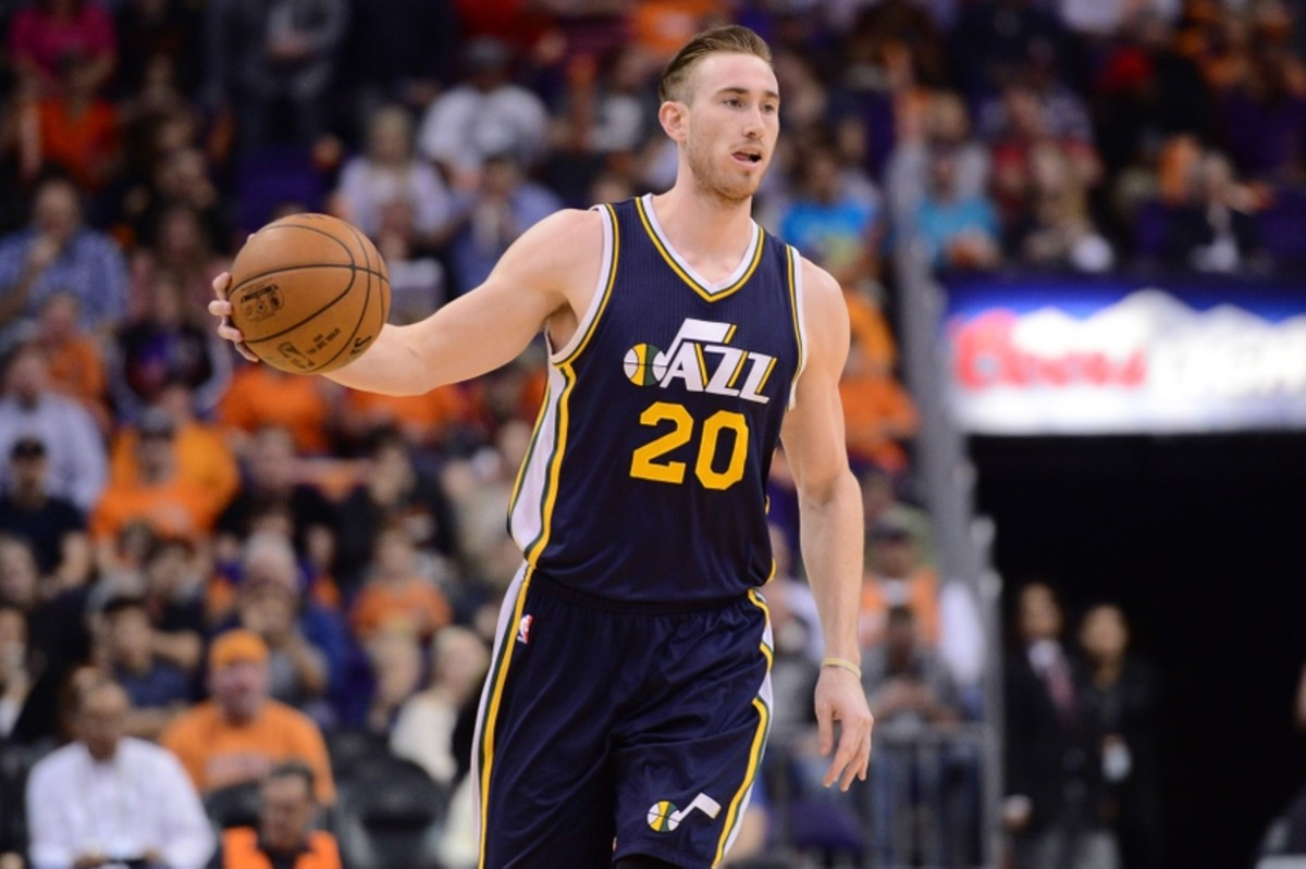 Feb 6, 2015; Phoenix, AZ, USA; Utah Jazz forward Gordon Hayward (20) dribbles against the Phoenix Suns at US Airways Center. Mandatory Credit: Joe Camporeale-USA TODAY Sports