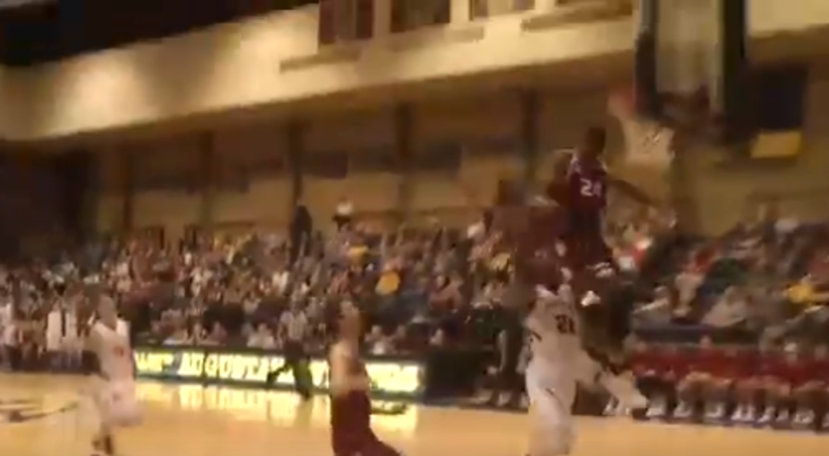 VIDEO: College Star Hits Head On Backboard With The Crazy Chasedown Block