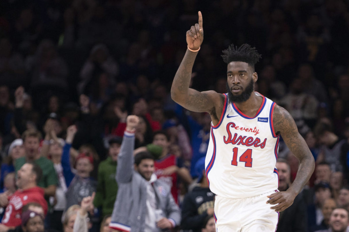 PHILADELPHIA, PA - DECEMBER 13: Norvel Pelle #14 of the Philadelphia 76ers reacts against the New Orleans Pelicans at the Wells Fargo Center on December 13, 2019 in Philadelphia, Pennsylvania. The 76ers defeated the Pelicans 116-109. NOTE TO USER: User expressly acknowledges and agrees that, by downloading and/or using this photograph, user is consenting to the terms and conditions of the Getty Images License Agreement. (Photo by Mitchell Leff/Getty Images)