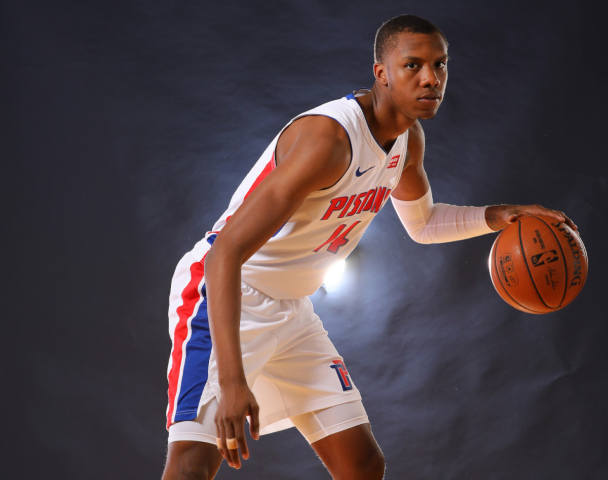 AUBURN HILLS, MICHIGAN - SEPTEMBER 30: Louis King #14 of the Detroit Pistons poses for a portrait during the Detroit Pistons Media Day at Pistons Practice Facility on September 30, 2019 in Auburn Hills, Michigan. NOTE TO USER: User expressly acknowledges and agrees that, by downloading and/or using this photograph, user is consenting to the terms and conditions of the Getty Images License Agreement. (Photo by Gregory Shamus/Getty Images)