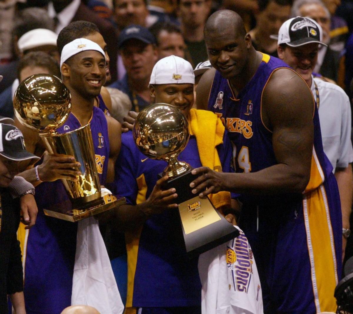 Shaquille O'Neal, Kobe Bryant and Derek Fisher