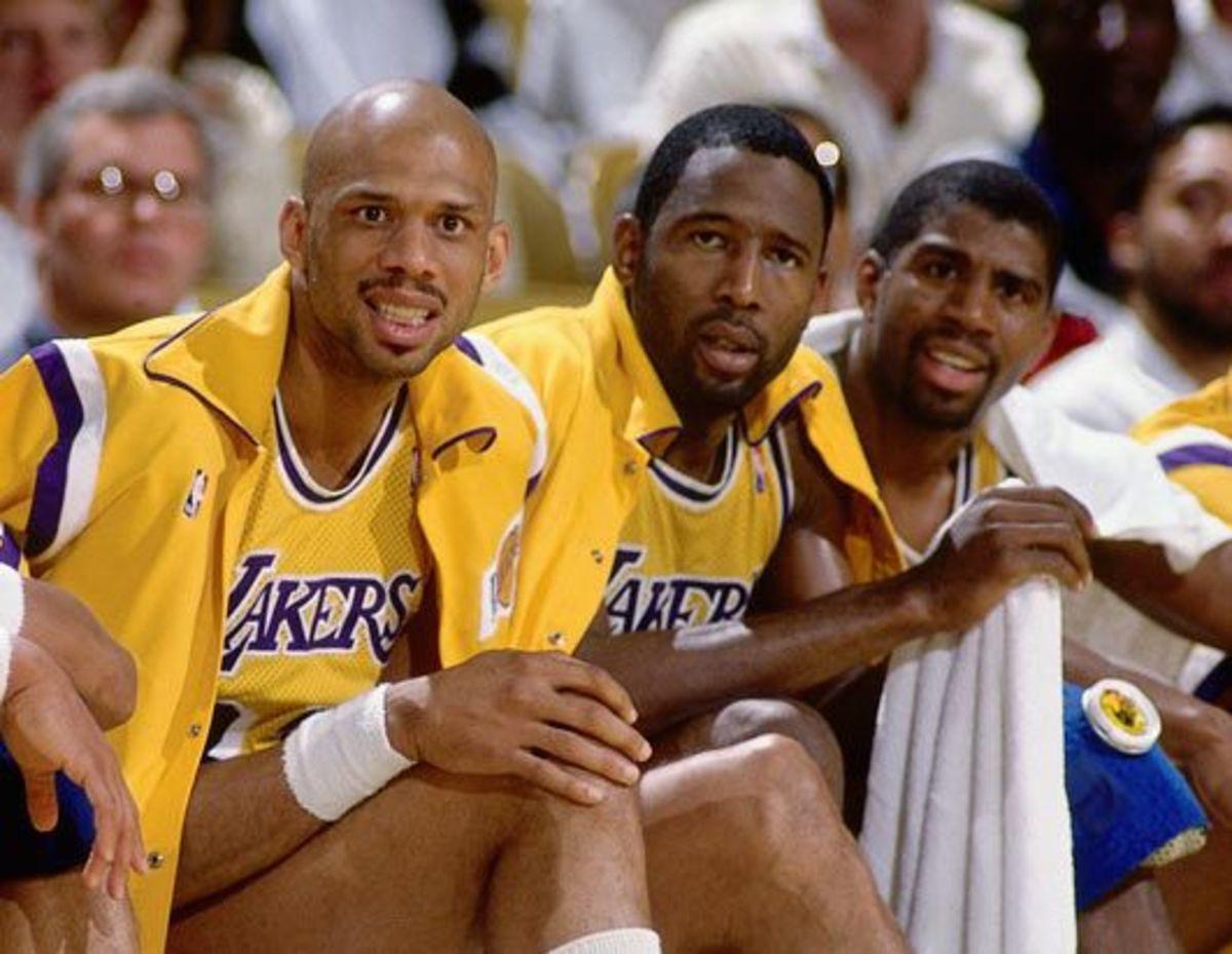 Magic Johnson, Kareem Abdul-Jabbar and James Worthy