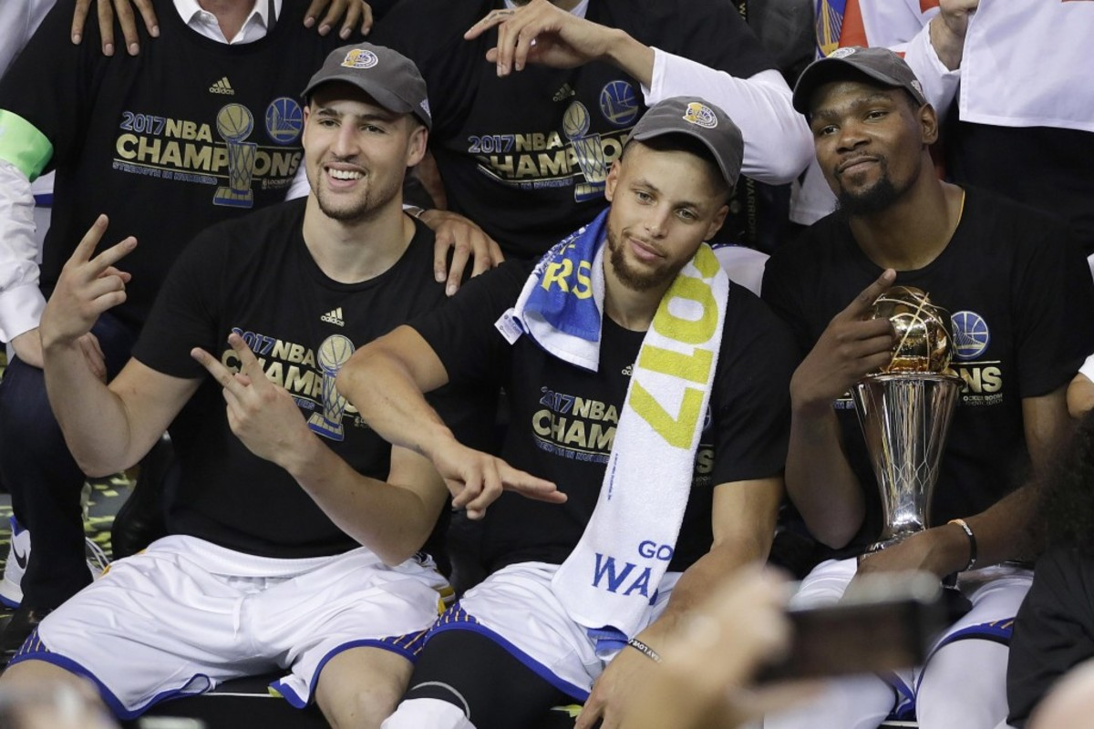 Kevin Durant, Stephen Curry and Klay Thompson