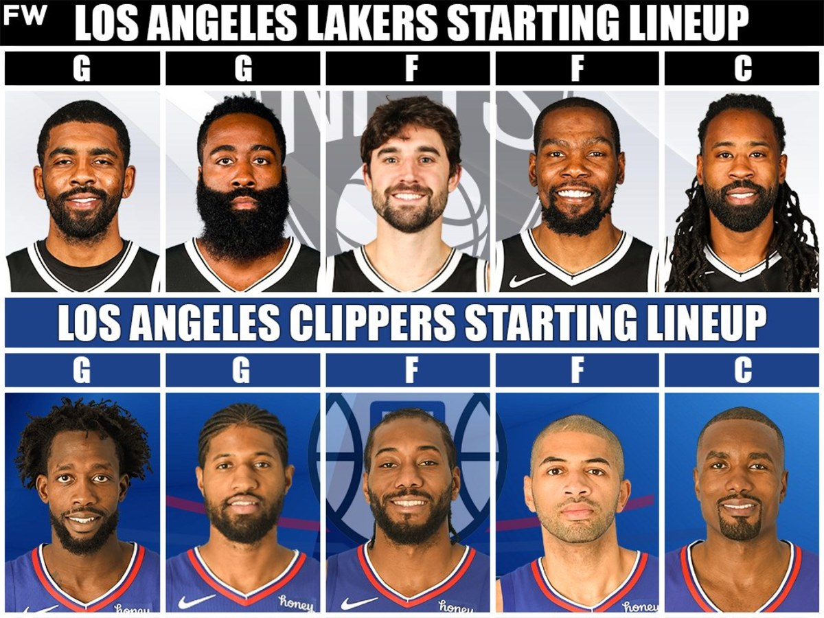 Nets Starting Lineup vs. Clippers Starting Lineup
