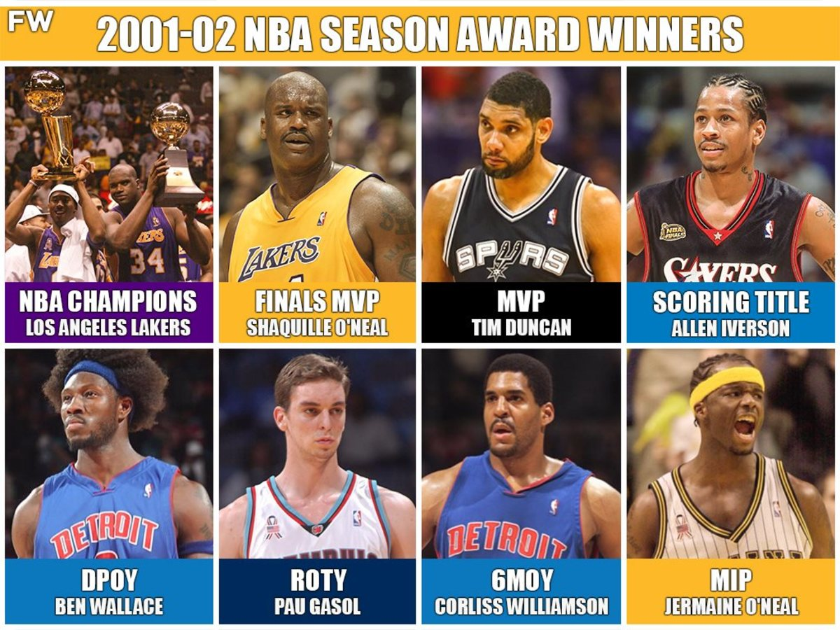 2002 NBA Season Was One To Remember: Lakers Three Peat, Shaq O'Neal Wins Finals MVP, Tim Duncan Wins MVP, Ben Wallace Wins DPOY
