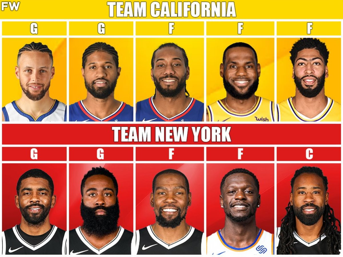 Team California vs. Team New York: Curry, LeBron, Davis vs. Irving, Harden, Durant