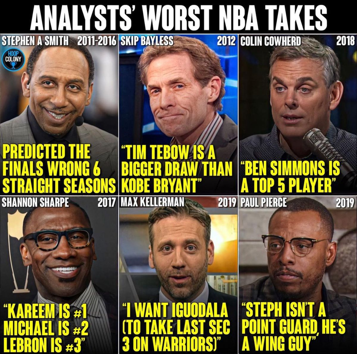 NBA Analysts Worst Takes Ever: 'LeBron Is 3rd Of All-Time... I Want Iguodala... Stephen Curry Isn't A Point Guard... Predicted The Finals Wrong 6 Straight Seasons'