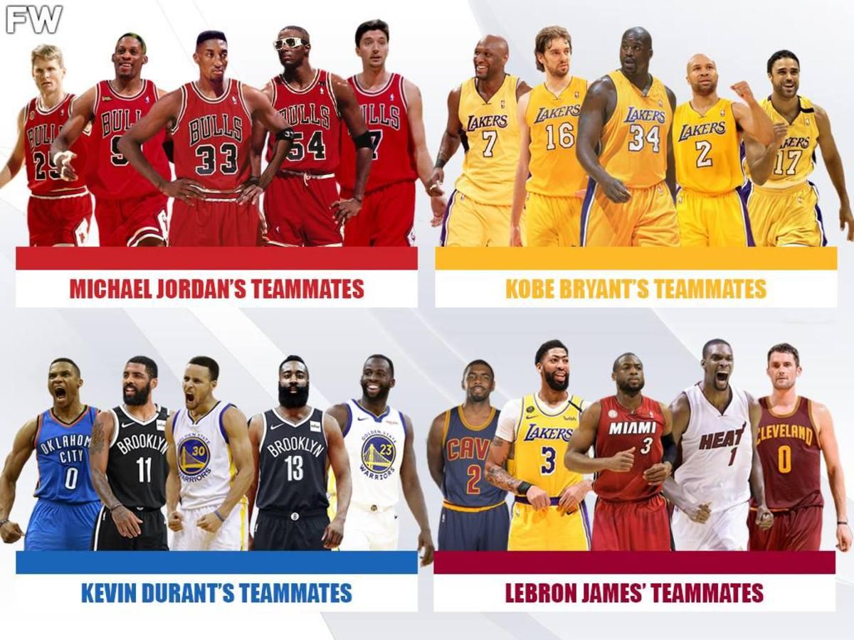 The Best Starting 5 Teammates Of LeBron James, Michael Jordan, Kobe Bryant, And Kevin Durant